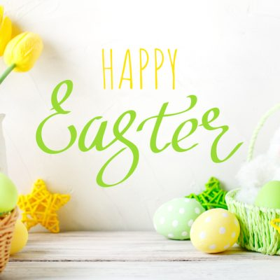 Happy Easter Congratulatory easter background Easter eggs and rabbit